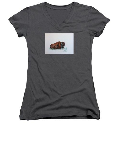 Tired Bison Women's V-Neck T-Shirt