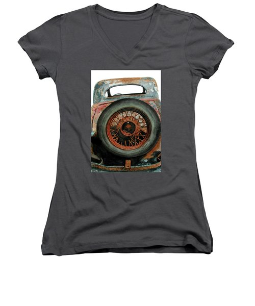 Women's V-Neck T-Shirt (Junior Cut) featuring the painting Tired by Ferrel Cordle