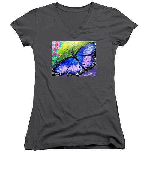 Titanium Butterfly Women's V-Neck (Athletic Fit)