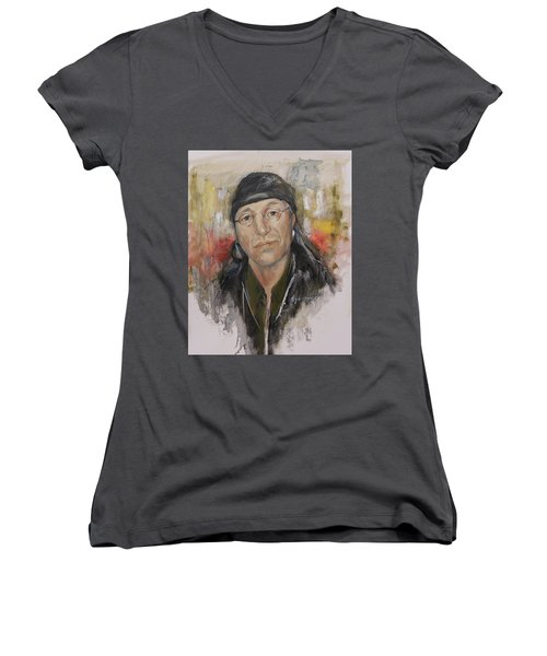 To Honor John Trudell Women's V-Neck T-Shirt (Junior Cut) by Synnove Pettersen