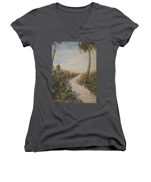 To The Beach Women's V-Neck T-Shirt (Junior Cut) by Alan Lakin
