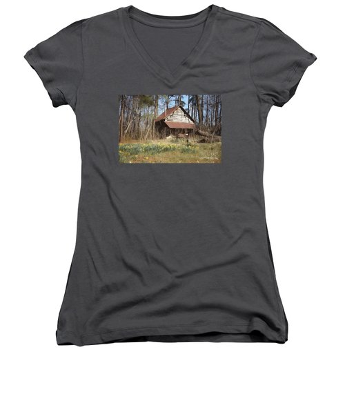 Women's V-Neck T-Shirt (Junior Cut) featuring the photograph Tobacco Barn In Spring by Benanne Stiens