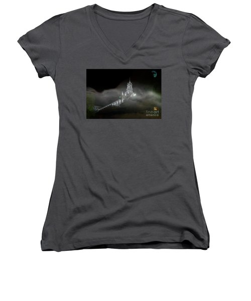 Women's V-Neck T-Shirt (Junior Cut) featuring the photograph Todos Santos In The Fog by Al Bourassa