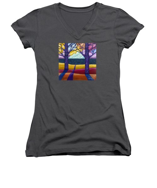 Women's V-Neck featuring the painting Together Forever by Carla Bank