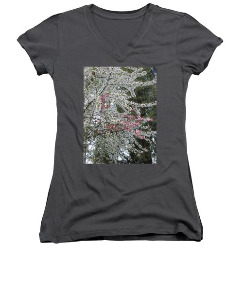Women's V-Neck T-Shirt (Junior Cut) featuring the photograph Togetherness by Marie Neder