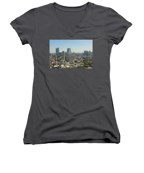 Tokyo Skyline Women's V-Neck T-Shirt (Junior Cut) by Jacob Reyes