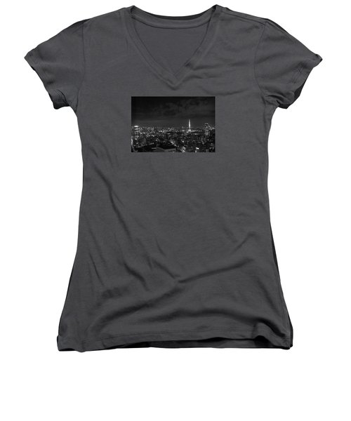 Tokyo Skyline Women's V-Neck T-Shirt (Junior Cut) by Liz Grandstaff