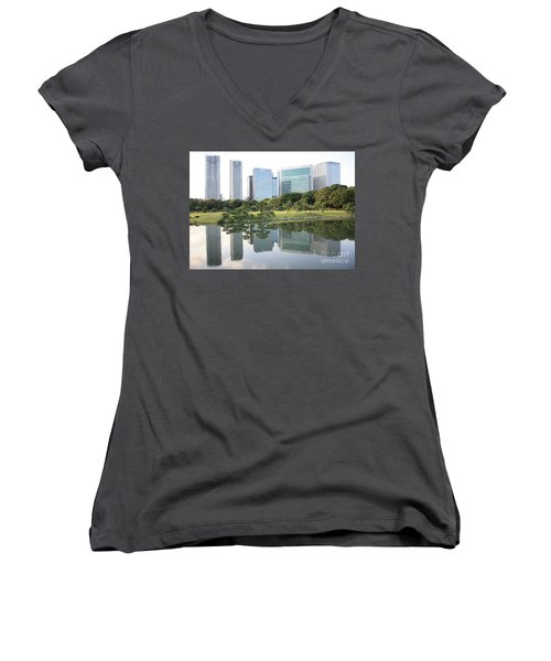 Tokyo Skyline Reflection Women's V-Neck T-Shirt (Junior Cut) by Carol Groenen