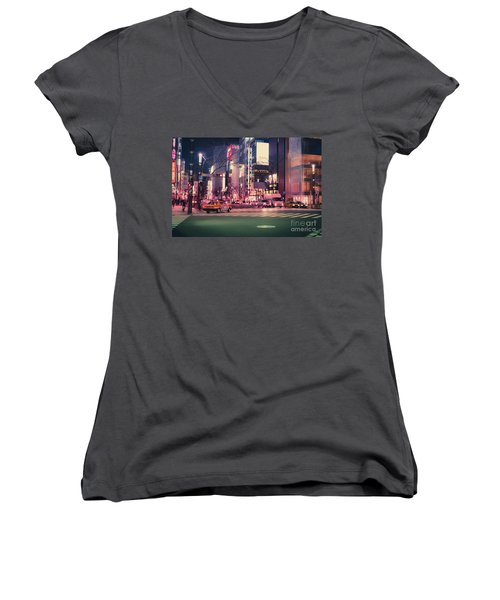 Tokyo Street At Night, Japan 2 Women's V-Neck T-Shirt