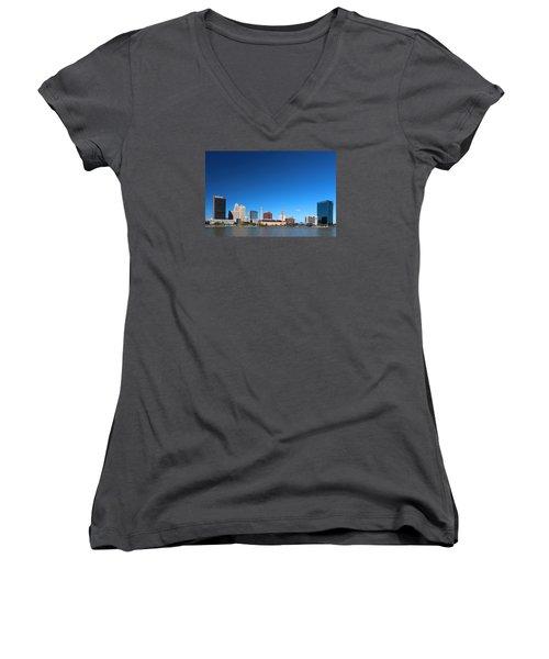 Women's V-Neck T-Shirt (Junior Cut) featuring the photograph Toledo Skyline I by Michiale Schneider