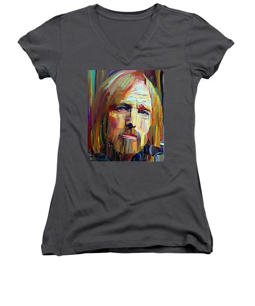 Tom Petty Tribute Portrait 4 Women's V-Neck T-Shirt
