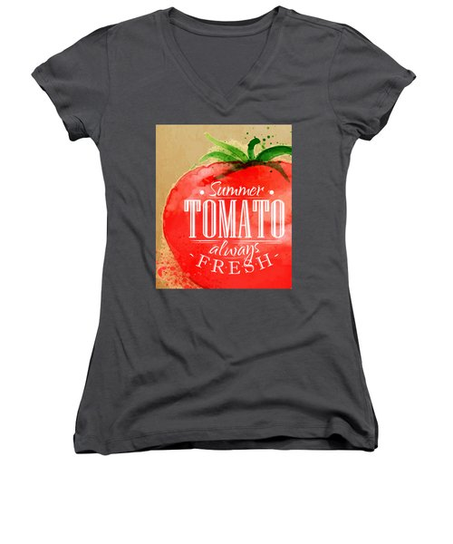 Tomato Women's V-Neck T-Shirt (Junior Cut) by Aloke Creative Store