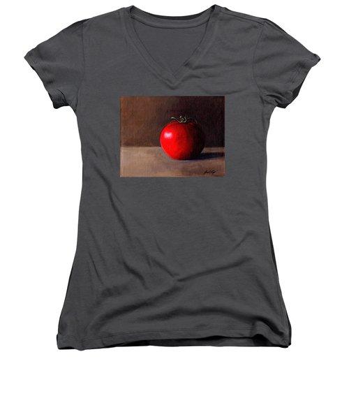 Tomato Still Life 1 Women's V-Neck T-Shirt (Junior Cut) by Janet King