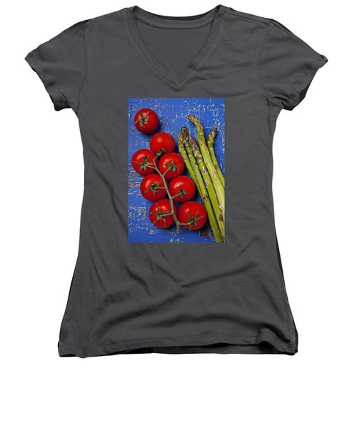 Tomatoes And Asparagus  Women's V-Neck T-Shirt (Junior Cut) by Garry Gay