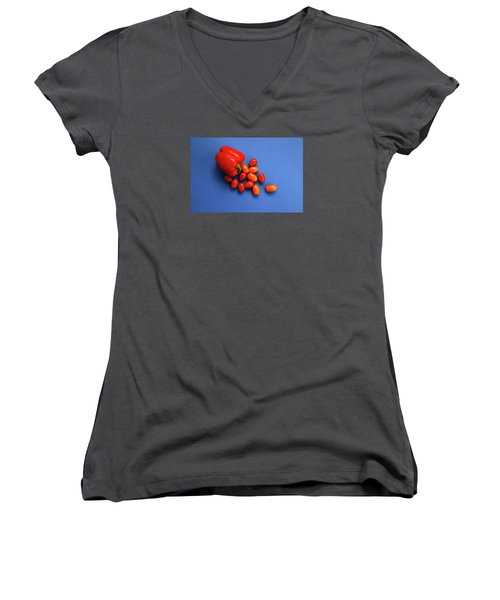 Tomatoes And Capsicum On Blue Women's V-Neck
