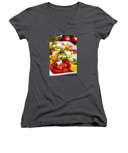 Tomatoes, Basil And Cheese Women's V-Neck