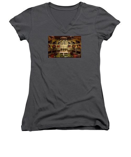 Tomb Of Saint Eulalia In The Crypt Of Barcelona Cathedral Women's V-Neck T-Shirt (Junior Cut) by RicardMN Photography