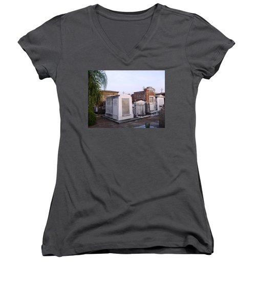 Tombs In St. Louis Cemetery Women's V-Neck T-Shirt (Junior Cut) by Alys Caviness-Gober