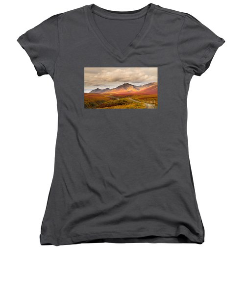 Tombstone Territorial Park Yukon Women's V-Neck T-Shirt (Junior Cut) by Rod Jellison