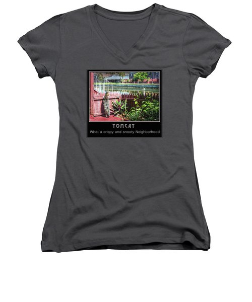 Women's V-Neck T-Shirt featuring the photograph Tomcat Breakfast by Hanny Heim