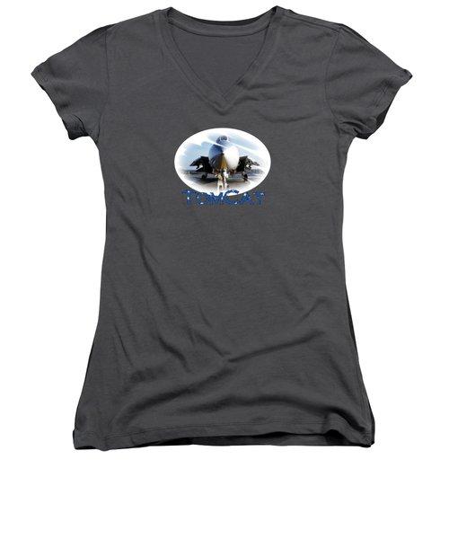 Women's V-Neck T-Shirt (Junior Cut) featuring the photograph Tomcat by DJ Florek