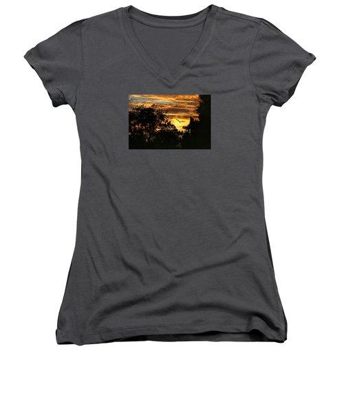 Women's V-Neck T-Shirt (Junior Cut) featuring the photograph Tomorrow Land by Joan Bertucci