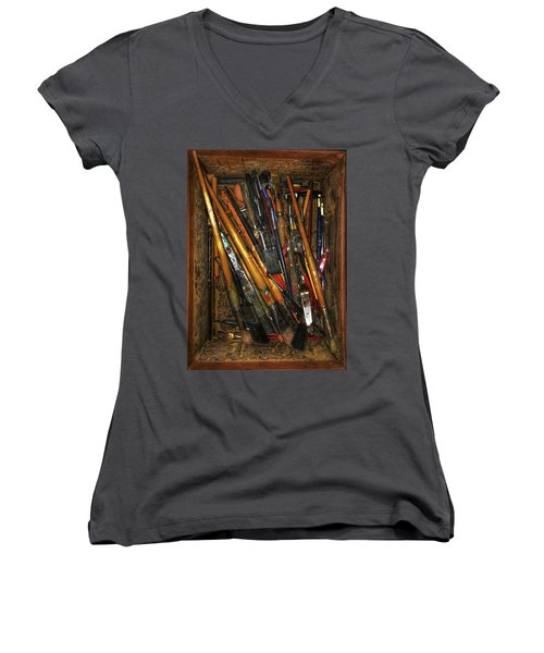 Women's V-Neck T-Shirt (Junior Cut) featuring the photograph Tools Of The Painter by Jame Hayes