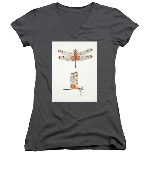 Top And Side Views Of A Male Calico Pennant Dragonfly Women's V-Neck (Athletic Fit)