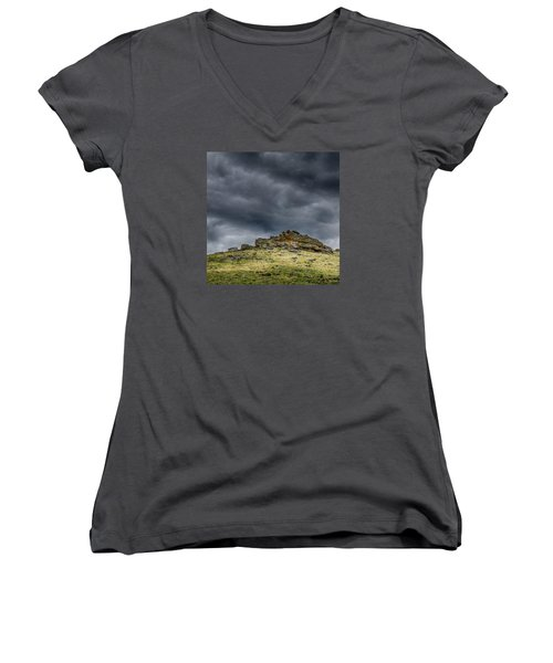 Top Of The Mountain Women's V-Neck T-Shirt (Junior Cut) by Mary Angelini