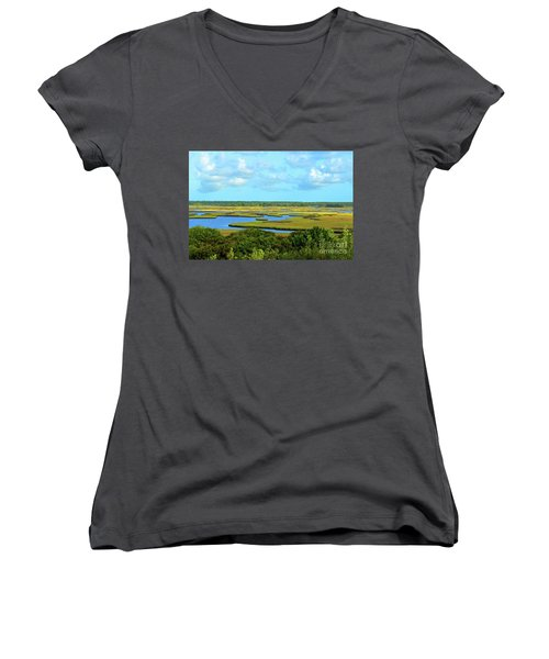 Topsail Island Marshland Women's V-Neck T-Shirt (Junior Cut)
