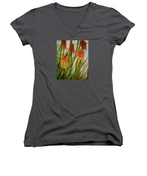 Torch Lily At The Beach Women's V-Neck T-Shirt (Junior Cut) by Sandi OReilly
