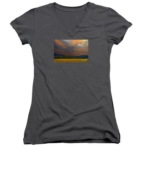 Tormented Sky Women's V-Neck T-Shirt (Junior Cut) by Mitch Shindelbower