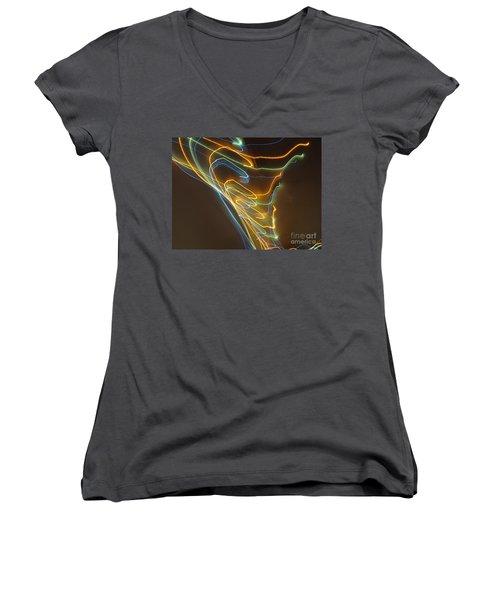 Women's V-Neck T-Shirt (Junior Cut) featuring the photograph Tornado Of Lights. Dancing Lights Series by Ausra Huntington nee Paulauskaite