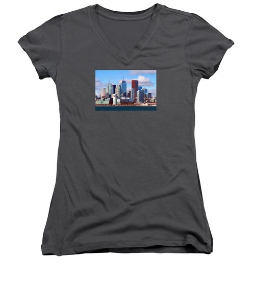Women's V-Neck T-Shirt (Junior Cut) featuring the photograph Toronto Core by Valentino Visentini