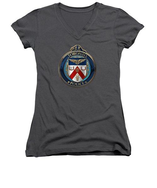 Women's V-Neck T-Shirt (Junior Cut) featuring the digital art Toronto Police Service  -  T P S  Emblem Over Red Velvet by Serge Averbukh