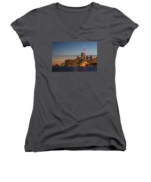 Women's V-Neck T-Shirt featuring the photograph Toronto Skyline At Dusk by Adam Romanowicz