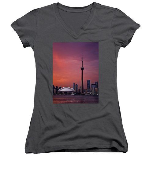 Toronto Sunset Women's V-Neck T-Shirt