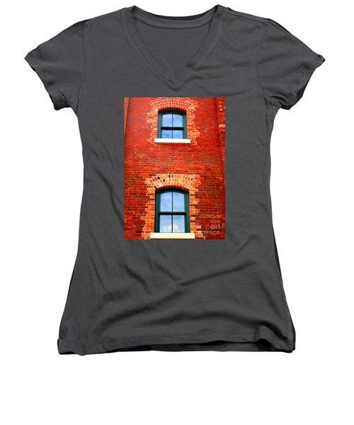 Toronto Windows Women's V-Neck T-Shirt (Junior Cut) by Randall Weidner