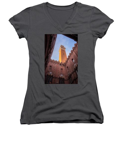 Women's V-Neck T-Shirt (Junior Cut) featuring the photograph Torre Del Mangia Siena Italy by Joan Carroll