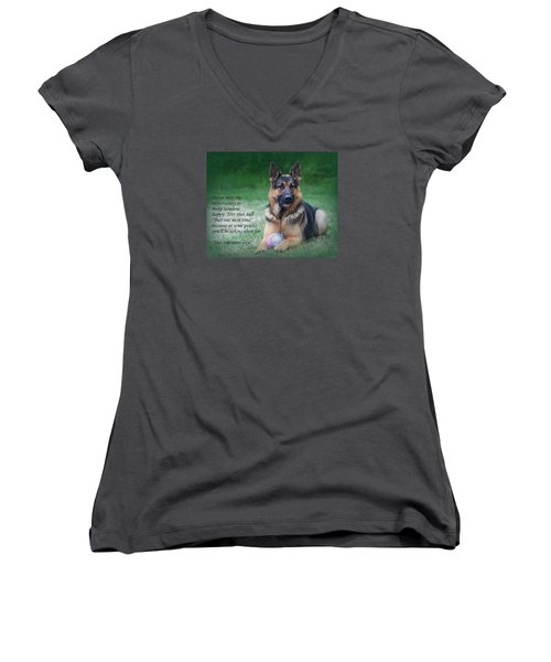 Toss That Ball Women's V-Neck (Athletic Fit)