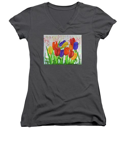 Totally Tulips Women's V-Neck