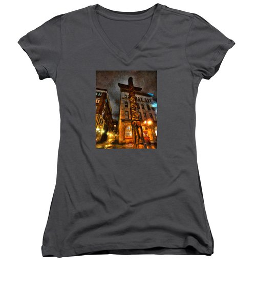 Totem In The City Women's V-Neck T-Shirt (Junior Cut) by Andre Faubert