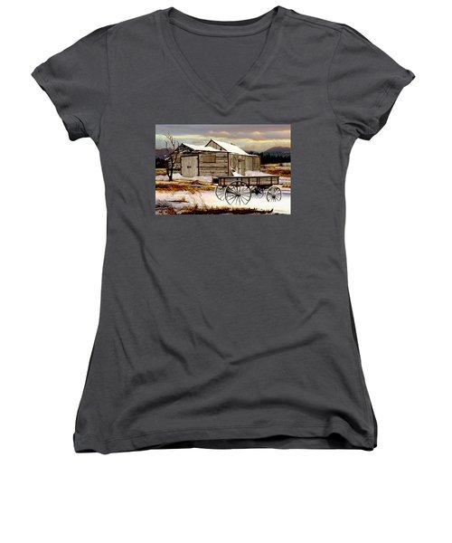 Touch Of Spring Women's V-Neck T-Shirt (Junior Cut) by Ron and Ronda Chambers