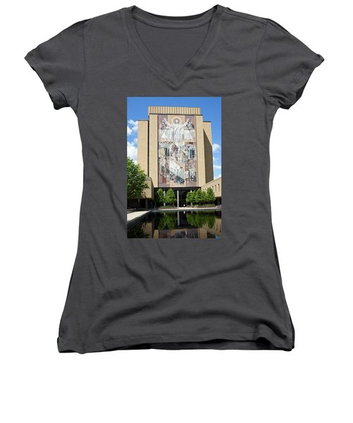 Touchdown Jesus Mural Women's V-Neck T-Shirt