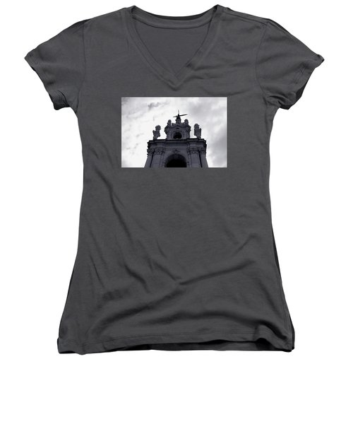 Women's V-Neck featuring the photograph Tower Against The Clouds by Lorraine Devon Wilke