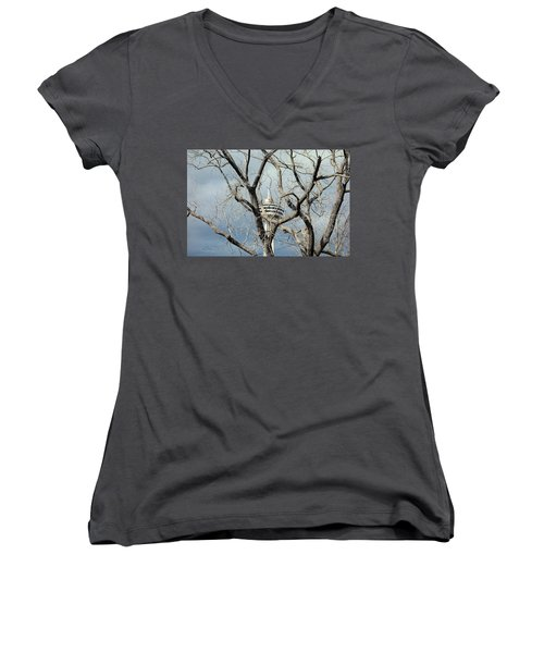 Women's V-Neck T-Shirt (Junior Cut) featuring the photograph Tower And Trees by Valentino Visentini