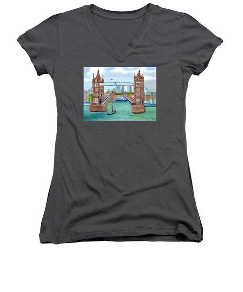 Tower Bridge London Women's V-Neck T-Shirt (Junior Cut) by Magdalena Frohnsdorff