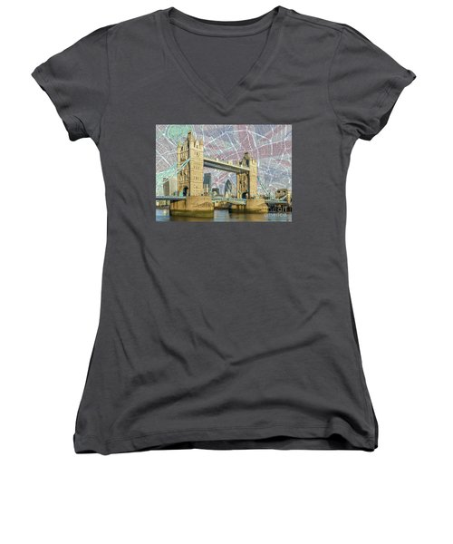 Women's V-Neck T-Shirt (Junior Cut) featuring the digital art Tower Bridge With Union Jack by Adam Spencer