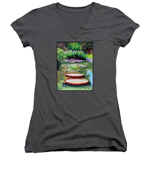Tower Grove Park Women's V-Neck T-Shirt (Junior Cut) by John Lautermilch
