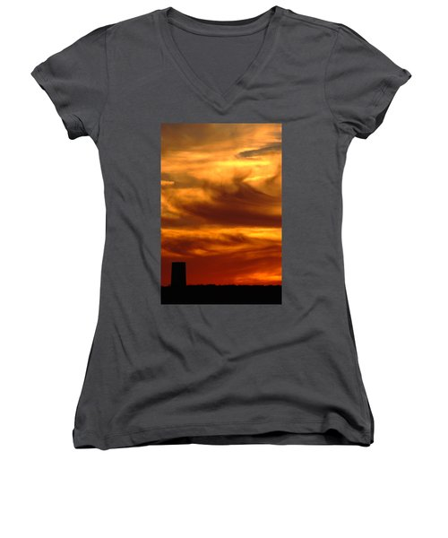 Tower In Sunset Women's V-Neck
